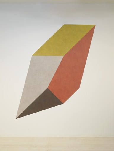 Sol LeWitt Wall Drawing #420A Isometric figure with gray yellow red and blue superimposed progressively