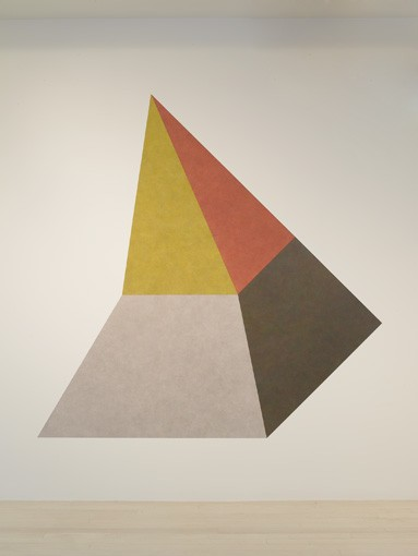 Sol LeWitt Wall Drawing #420B Isometric figure with gray yellow red and blue superimposed progressively