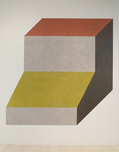 Sol LeWitt Wall Drawing #420H Isometric figure with gray yellow red and blue superimposed progressively