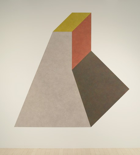 Sol LeWitt Wall Drawing #420I Isometric figure with gray yellow red and blue superimposed progressively