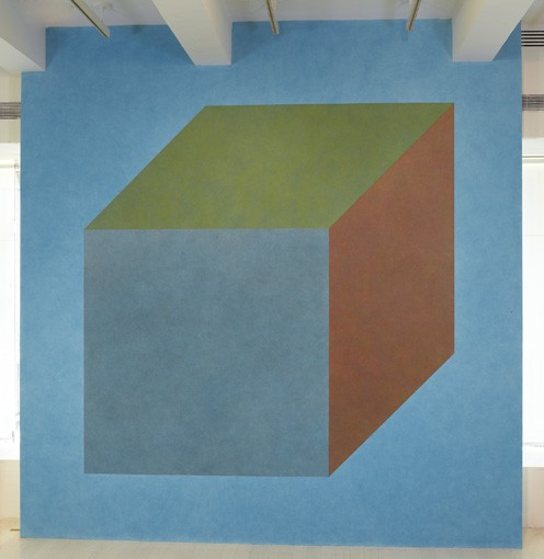 Sol LeWitt Wall Drawing #540D Isometric cube with color ink washes superimposed