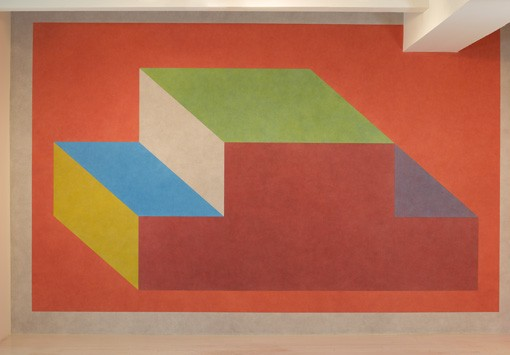 Sol LeWitt Wall Drawing #606C Forms derived from a cubic rectangle with color ink washes superimposed