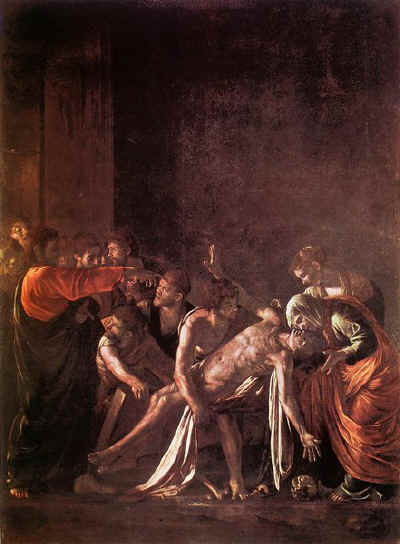 "Caravaggio, 'The Raising of Lazarus"" 1609 Via Bible ArtGallery"
