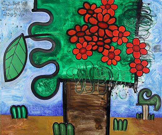 Carroll Dunham Gladstone Gallery Tree with Red Flowers
