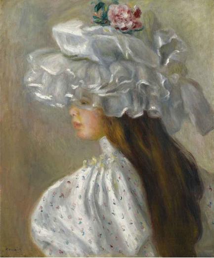 Femme au Chapeau Blanc, Pierre-Auguste Renoir (1892)