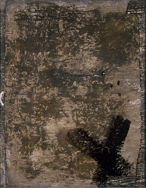 Grey and Black Cross. No. XXVI (1955) Antoni Tàpies