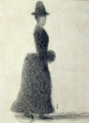 Seurat, 1884, Lady with a Muff, Via Kroller-Muller Museum