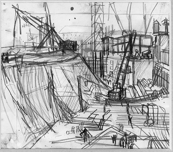Auerbach, 1958 Sketch of Shell Building, Via NYT