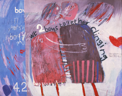"Hockney, ""We Two Boys Together Clinging""(1961) Via Guardian"