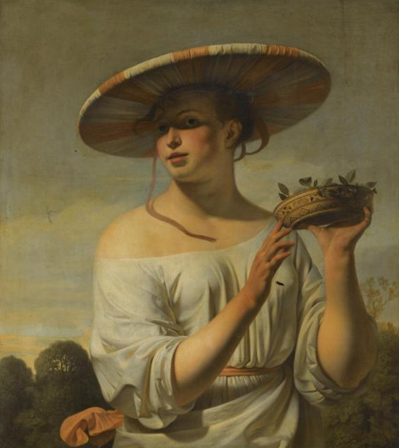 Girl Holding a Basket of Plums, Cesar Boetius van Everdingen Sotheby's Old Masters