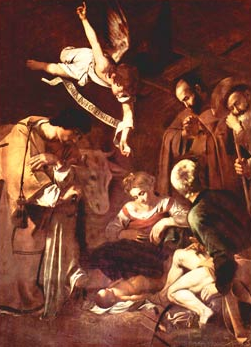"""Nativity with Saints Francis and Lawrence"" Caravaggio Palermo Burnt Mafia"