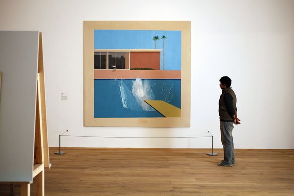 Visitor looks at A Bigger Splash, Hockney, 1967, Via Guardian