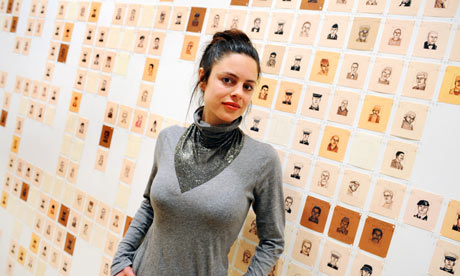 Emily Prince in front of her installation at the Saatchi Gallery
