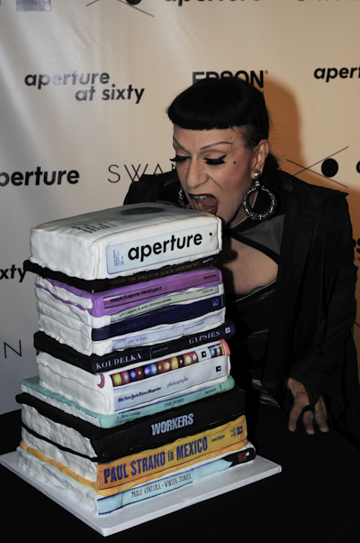 Performance artist Joey Arias with 60th gala cake