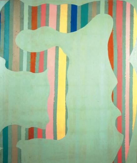 Daniel Buren, TII262 Enamel on Cotton Fabric (green bed spread) courtesy Xavier Hufkens