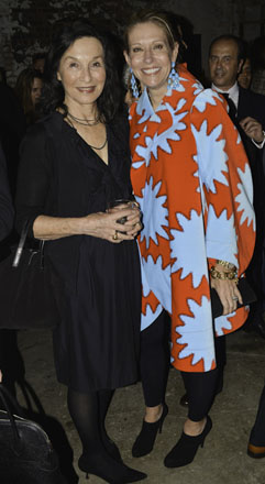 Gallerist Barbara Gladstone (left) and guest