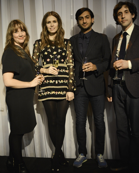 ICI Exectuive Director Kate Fowle, Leo Award recipient Dasha Zhukova, and Independent Vision Curatorial Award recipients Nav Haq and Jay Sanders