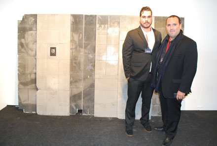 Artist Ramón Miranda Baltrán and gallerist Waltar Otero in front of a Baltrán piece. Walter Otero Contemporary, San Juan. Part of Art Projects