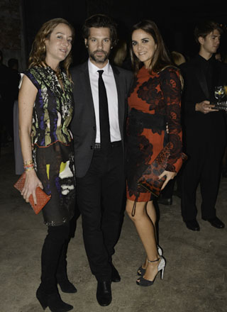 Artist Aaron Young (middle) and Laure Heriard Dubreuil of The Webster, Miami (right) with guest