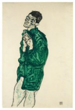 Egon Schiele Self-Portrait in Green Shirt with Eyes Closed 1914 via Bloomberg