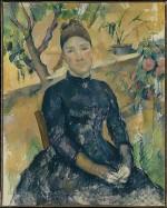 Paul Cezanne-Madame Cezanne in the Conservatory-Metropolitan Museum