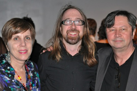 Curator Renee Riccardo, Pace's James Powers, and writer Paul Laster