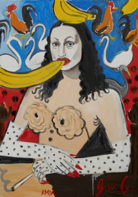 Andrea Mary Marshall, Gia Condo Untitled No.2: Self Portrait as Mona Leda and the Banananas, the Swan, the Rooster and the Eyebrows, (2012), Allegra LaViola