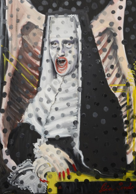 Andrea Mary Marshall, Gia Condo Untitled No.3: Self Portrait as Mona Donna, Nun Innocent X, Nun in Ex Cathedra, Self Portrait as Me as My Mother, Study after Pope Francis Bacon, The Carcass of Velazquez, Year of the Polka Dot, (2012), via Allegra LaViola