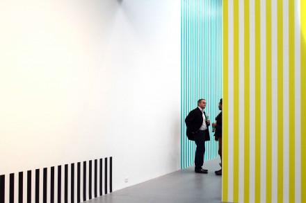 "Daniel Buren, ""Electricity"" at Petzel Gallery (Installation View) Photo by Elene Damenia"