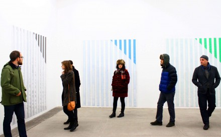 "Daniel Buren, ""Electricity"" at Bortolami Gallery (Installation View) Photo by Elene Damenia"