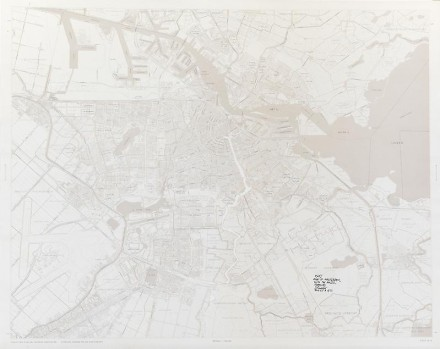 Sol LeWitt, R647: Map of Amsterdam with the area between the Dam, Art and Project, Utrechtse-Brug, Zeeburgerstraat and Achtergracht removed (1976), via James Cohan