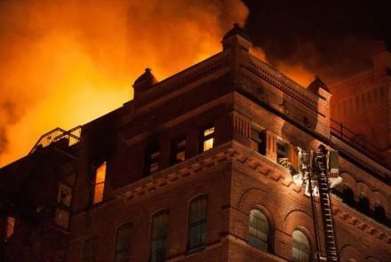 Fire at Pratt Institute, via NY1