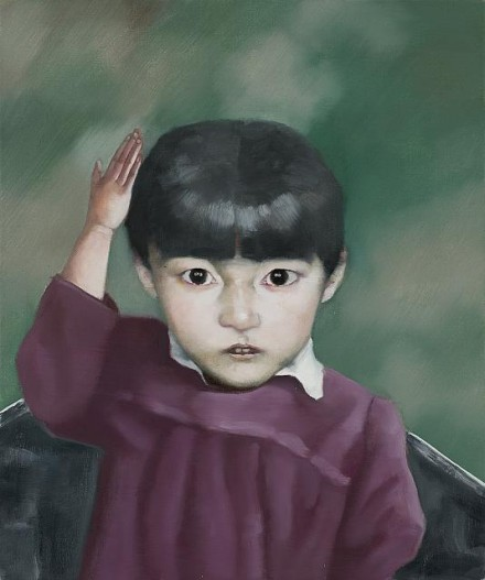 Zhang Xiaogang, Girl No. 2 (2012), Courtesy of PACE Gallery