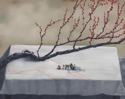 Zhang Xiaogang, Red Plum and Medicine Bottles (2012), Courtesy of PACE Gallery