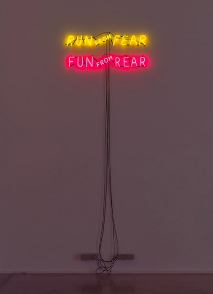 Bruce Nauman, Run From Fear, Fun From Rear (1972), via Hauser and Wirth