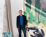 David Zwirner with a work by Neo Rauch, via New York Times Magazine