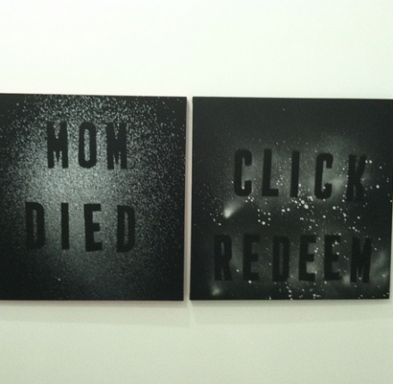 2 Works by Mark Flood at Peres Projects, via Daniel Creahan for Art Observed