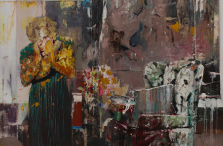 Adrian Ghenie, Pie Fight Interior 2 (2012), via Pace Gallery