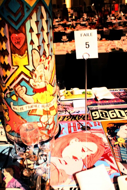 Part of the table design by Street Art Collective FAILE