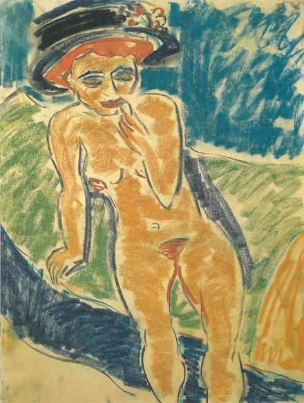 Ernst Ludwig Kirchner, Seated Female Nude (1907-08), Courtesy The Neue Galerie New York