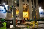 Installing Ugo Rondinone's Human Nature at Rockefeller Center, via New York Times