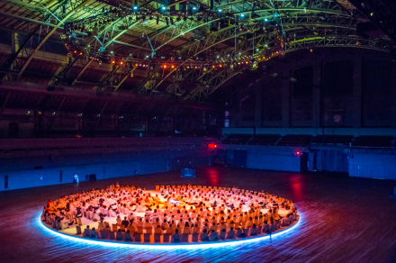 Karlheinz Stockhausen and Rikrit Tiravanija, Oktophonie (Installation View), via Park Avenue Armory