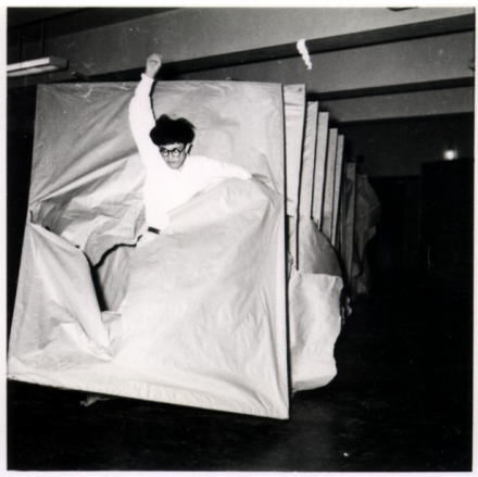 Murakami Saburō, Passing Through (1956),  Performance view: 2nd Gutai Art Exhibition, Ohara Kaikan, Tokyo, ca. October 11–17, 1956  © Murakami Makiko and the former members of the Gutai Art Association, courtesy Museum of Osaka University