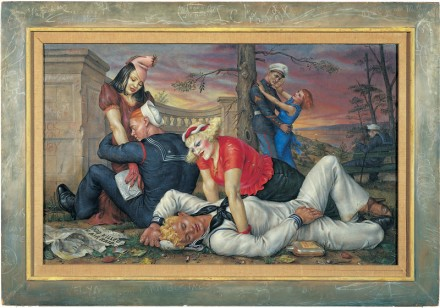 Paul Cadmus, Sailors and Floosies (1938), via The Whitney Museum