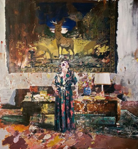 Adrian Ghenie, Pie Fight Interior 8 (2012), Courtesy Pace Gallery