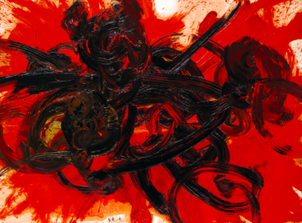 Shiraga Kazuo, Work II, 1958  Oil on paper, mounted on canvas  183 x 243 cm  Hyōgo Prefectural Museum of Art, Kobe © Shiraga Hisao, courtesy Hyōgo Prefectural Museum of Art