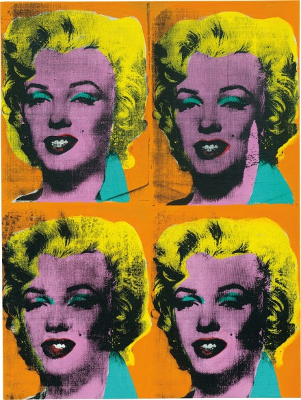 Andy Warhol, Four Marilyns (1962), courtesy of Phillips, final price: $38 Million