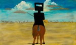 Sidney Nolan's 1946 enamel-on-board painting Ned Kelly, one of a series on Australia's outlaw-hero, via The Guardian
