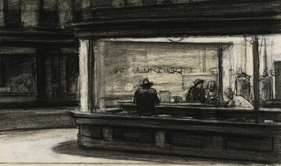 hopper analysis Nighthawks edward hopper, 1942 nighthawks (1942), a picture of a diner at night, continues hopper's concern with small-time businesses that was first established in early sunday morning the background of nighthawks, in fact, consists of a row of stores that resembles those pictured in early sunday morning.