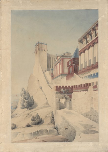 Henri Labrouste, Imaginary reconstruction of an ancient city, Perspective, view (Date unknown) Académie d'ArchitectureParis, Courtesy of MoMA
